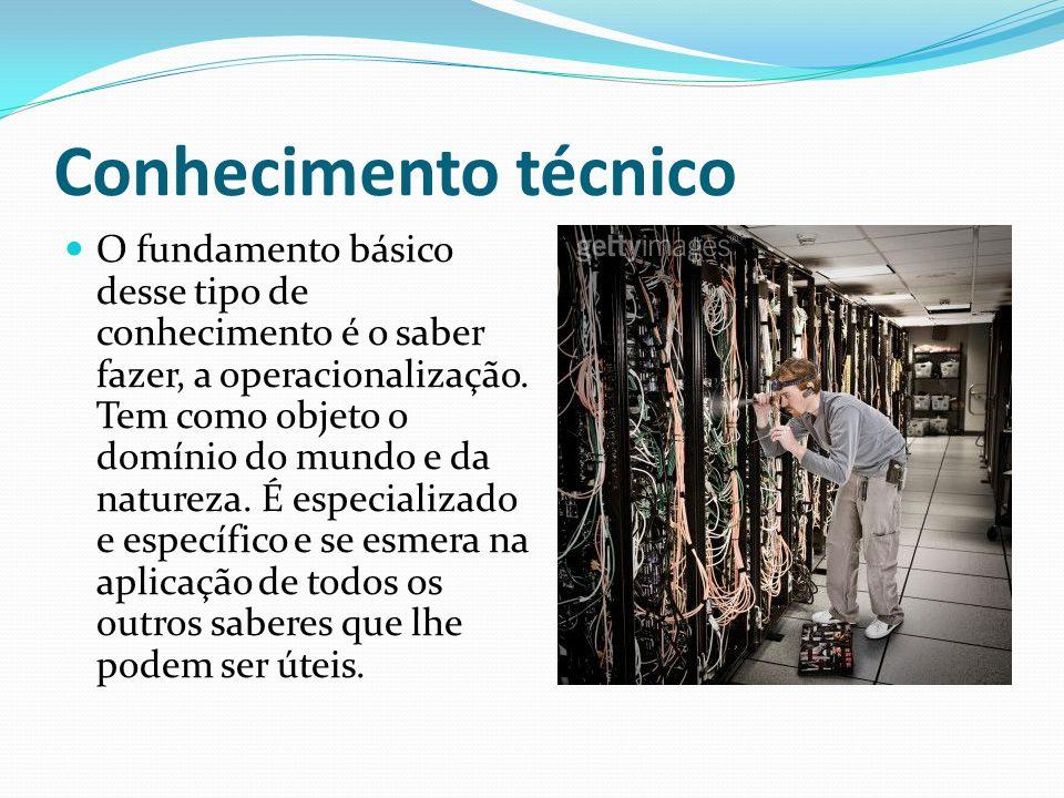 Conhecimento técnico O fundamento básico desse tipo de conhecimento é o saber fazer, a operacionalização. Tem como objeto o domínio do mundo e da natu