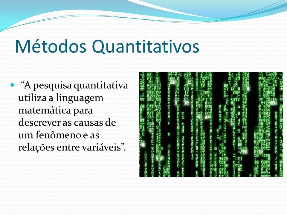 Métodos Quantitativos A pesquisa quantitativa utiliza a linguagem matemática para descrever as causas de um fenômeno e as relações entre variáveis.