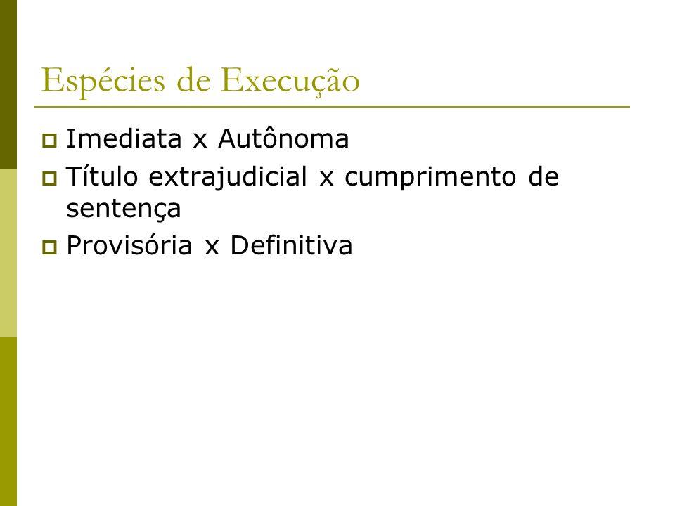 Espécies de Execução Imediata x Autônoma Título extrajudicial x cumprimento de sentença Provisória x Definitiva
