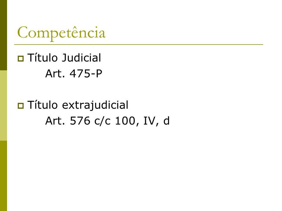Competência Título Judicial Art. 475-P Título extrajudicial Art. 576 c/c 100, IV, d