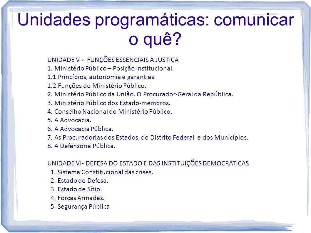 Unidades programáticas: comunicar o quê? UNIDADE V - FUNÇÕES ESSENCIAIS À JUSTIÇA 1. Ministério Público – Posição institucional. 1.1.Princípios, auton