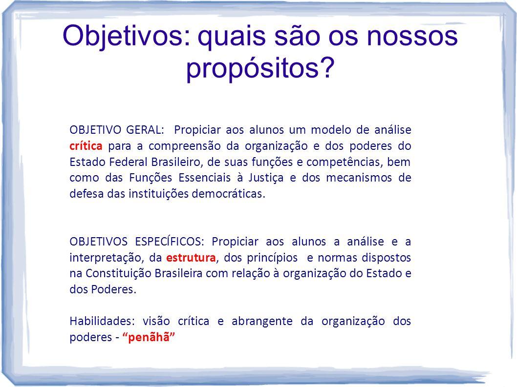 Objetivos: quais são os nossos propósitos? OBJETIVO GERAL: Propiciar aos alunos um modelo de análise crítica para a compreensão da organização e dos p