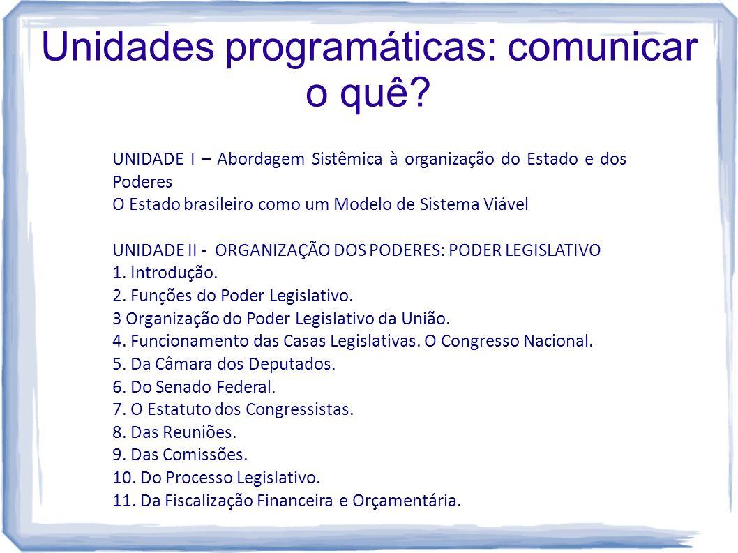 Unidades programáticas: comunicar o quê? UNIDADE I – Abordagem Sistêmica à organização do Estado e dos Poderes O Estado brasileiro como um Modelo de S