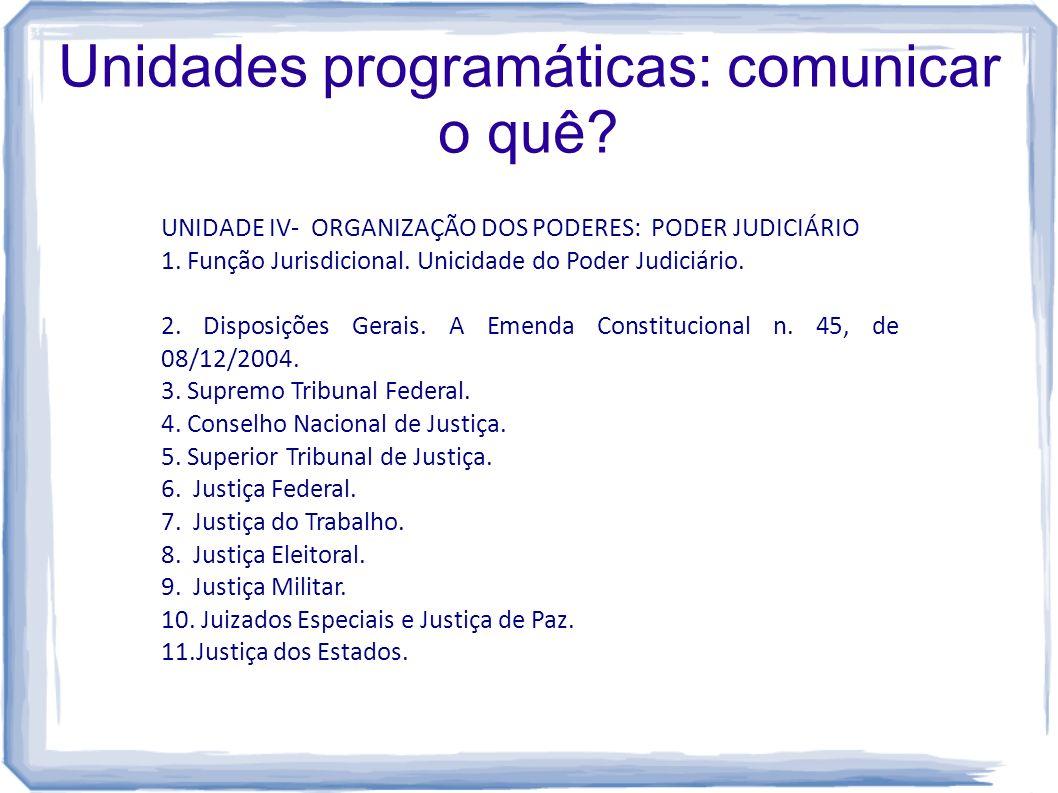 Unidades programáticas: comunicar o quê? UNIDADE IV- ORGANIZAÇÃO DOS PODERES: PODER JUDICIÁRIO 1. Função Jurisdicional. Unicidade do Poder Judiciário.
