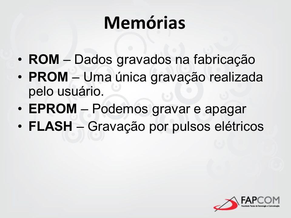 Memórias ROM – Dados gravados na fabricação PROM – Uma única gravação realizada pelo usuário. EPROM – Podemos gravar e apagar FLASH – Gravação por pul