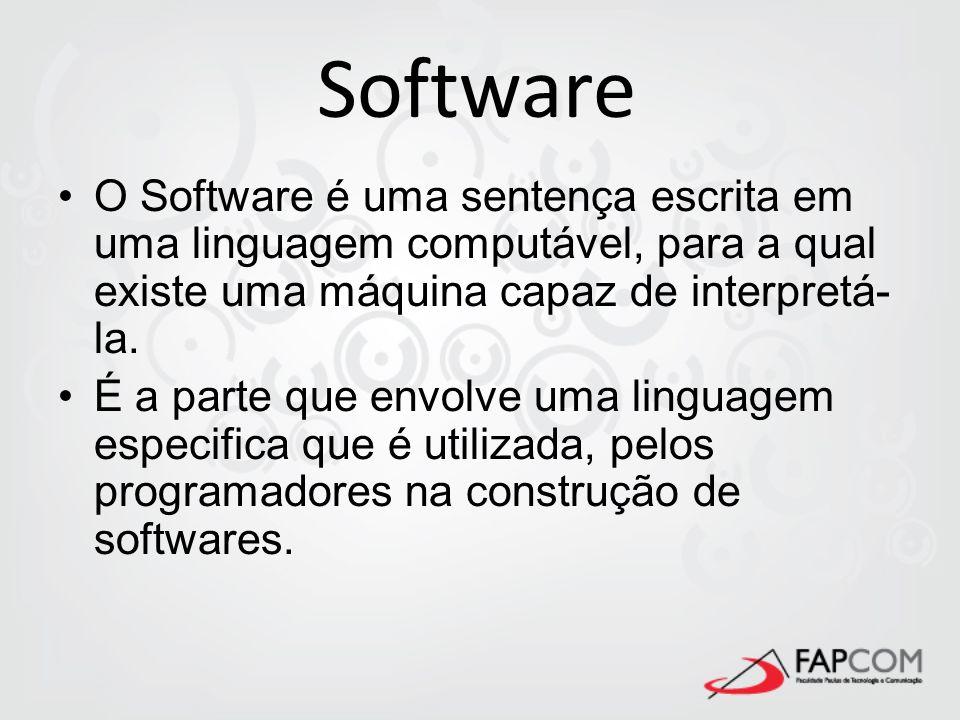 Software O Software é uma sentença escrita em uma linguagem computável, para a qual existe uma máquina capaz de interpretá- la. É a parte que envolve