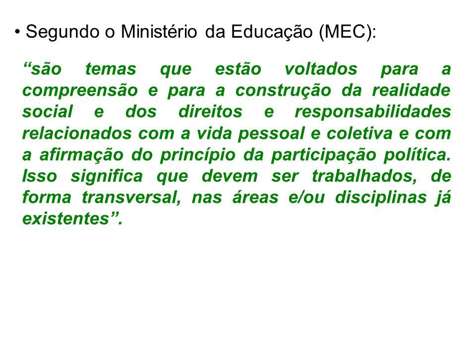 Segundo o Ministério da Educação (MEC): são temas que estão voltados para a compreensão e para a construção da realidade social e dos direitos e respo
