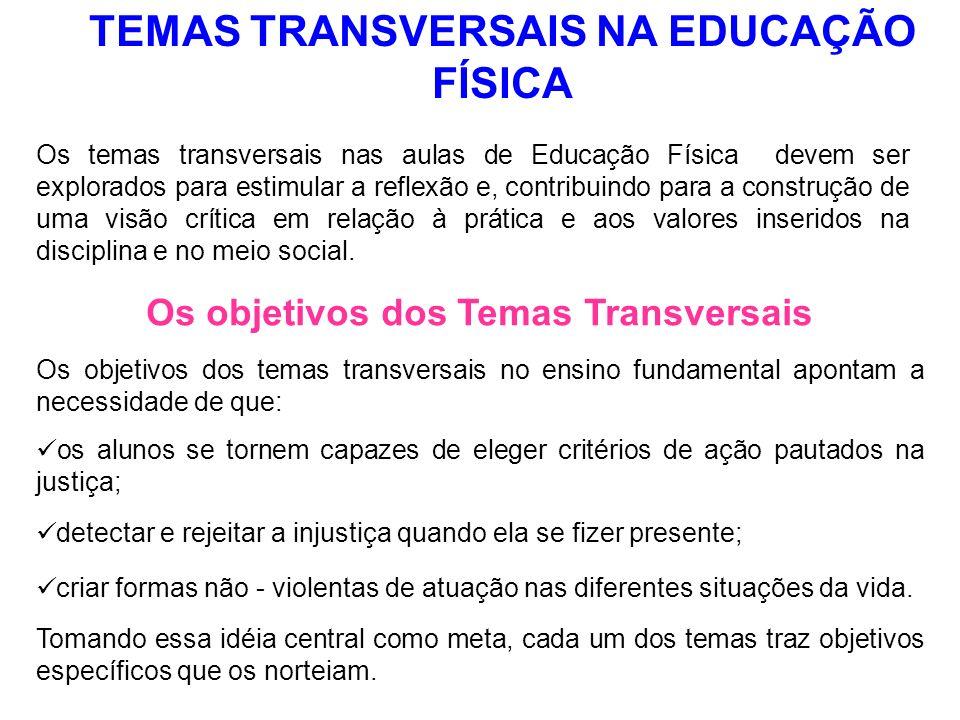 TEMAS TRANSVERSAIS NA EDUCAÇÃO FÍSICA Os temas transversais nas aulas de Educação Física devem ser explorados para estimular a reflexão e, contribuind