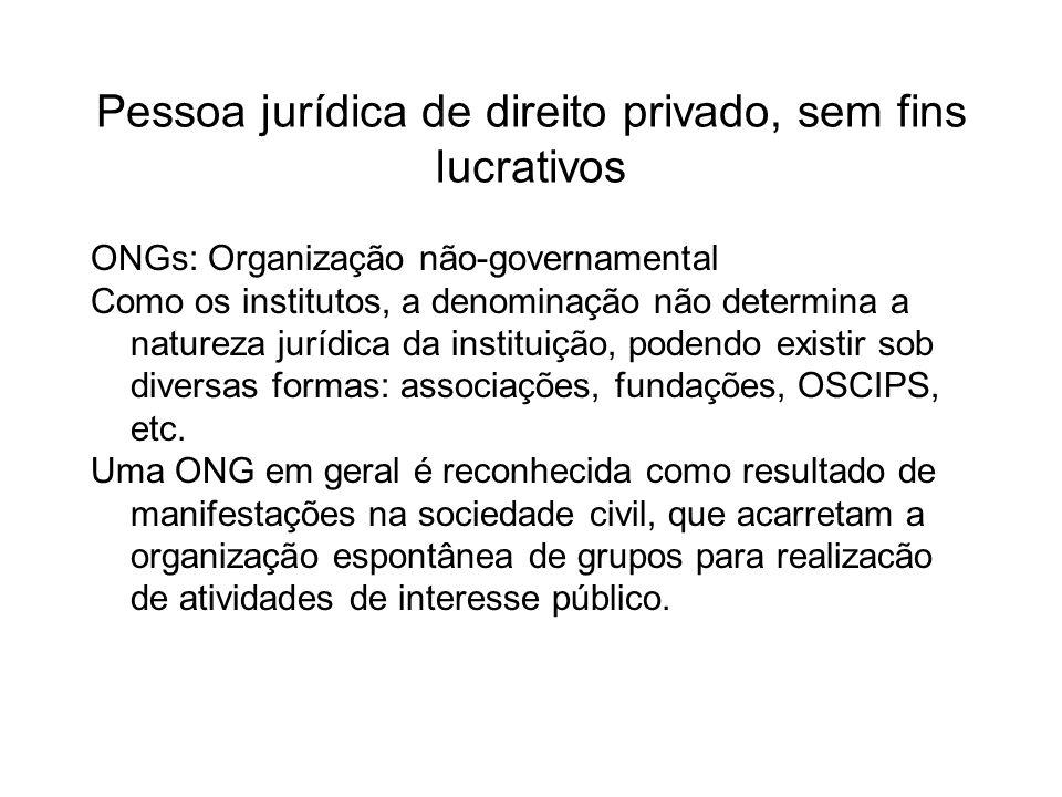 Pessoa jurídica de direito privado, sem fins lucrativos ONGs: Organização não-governamental Como os institutos, a denominação não determina a natureza