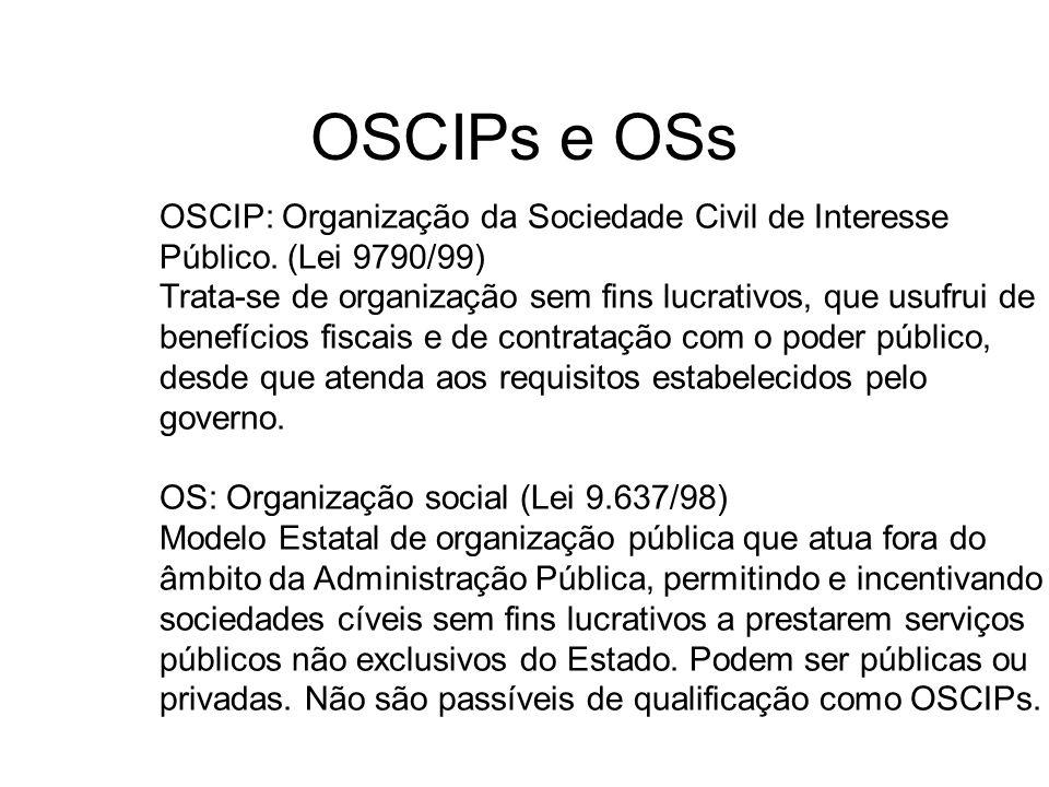 OSCIPs e OSs OSCIP: Organização da Sociedade Civil de Interesse Público. (Lei 9790/99) Trata-se de organização sem fins lucrativos, que usufrui de ben