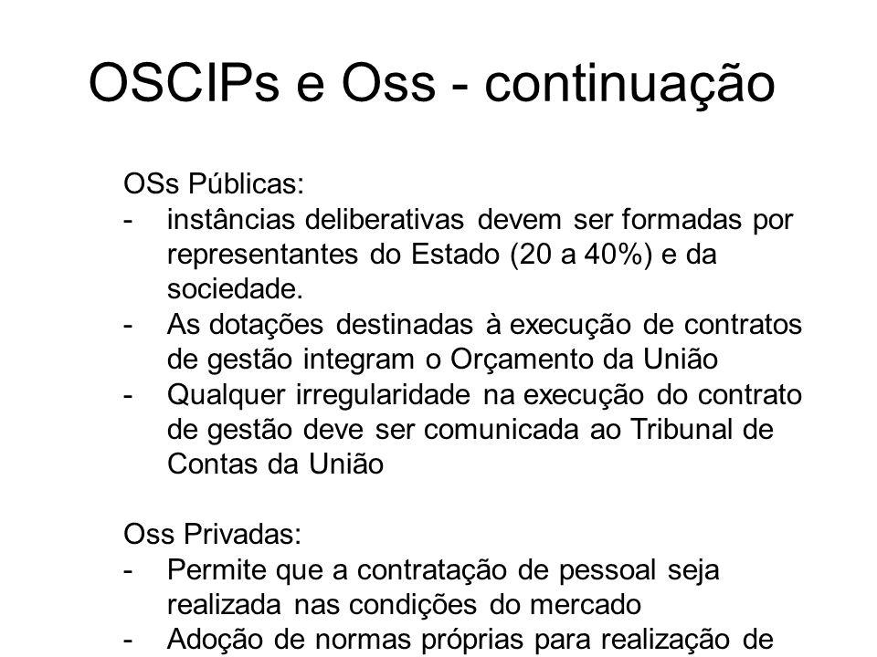 OSCIPs e Oss - continuação OSs Públicas: -instâncias deliberativas devem ser formadas por representantes do Estado (20 a 40%) e da sociedade. -As dota