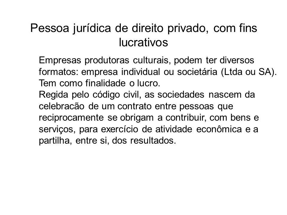 Pessoa jurídica de direito privado, com fins lucrativos Empresas produtoras culturais, podem ter diversos formatos: empresa individual ou societária (