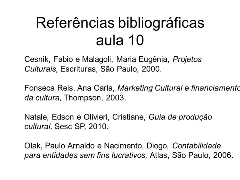 Referências bibliográficas aula 10 Cesnik, Fabio e Malagoli, Maria Eugênia, Projetos Culturais, Escrituras, São Paulo, 2000. Fonseca Reis, Ana Carla,