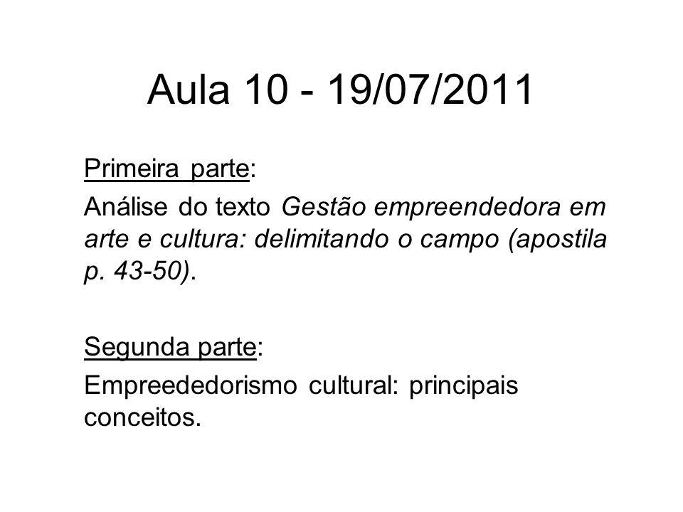 Aula 10 - 19/07/2011 Primeira parte: Análise do texto Gestão empreendedora em arte e cultura: delimitando o campo (apostila p. 43-50). Segunda parte: