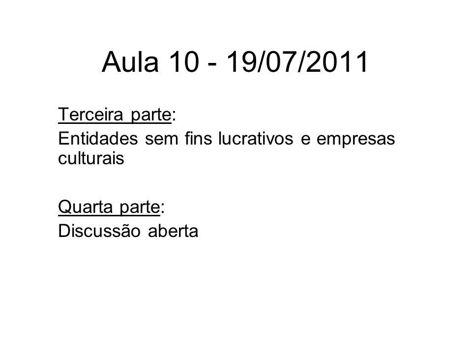 Aula 10 - 19/07/2011 Terceira parte: Entidades sem fins lucrativos e empresas culturais Quarta parte: Discussão aberta