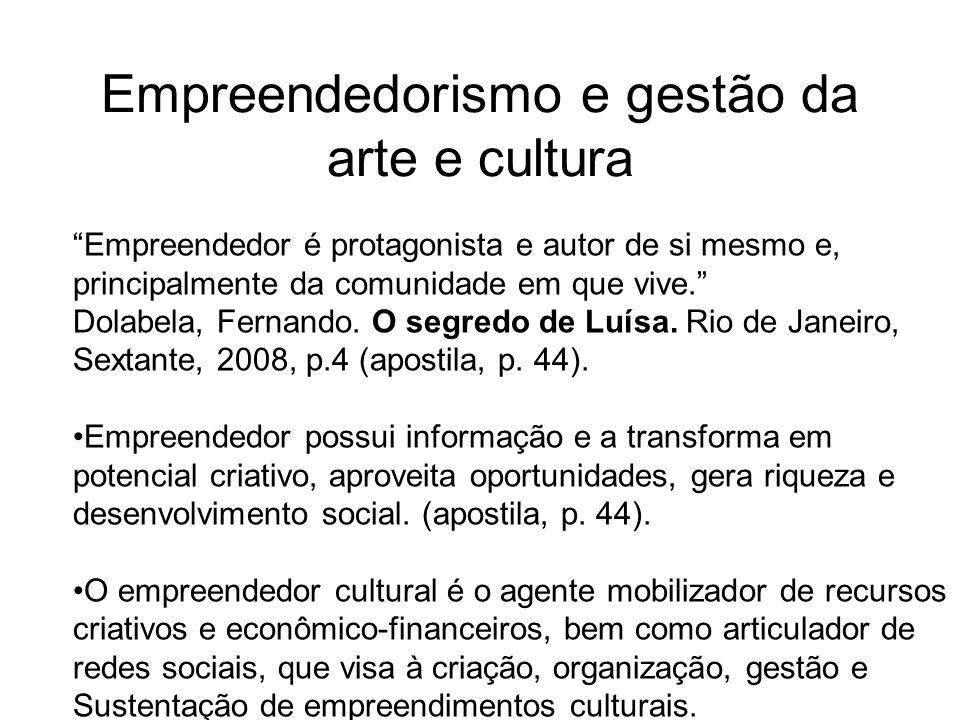 Empreendedorismo e gestão da arte e cultura Empreendedor é protagonista e autor de si mesmo e, principalmente da comunidade em que vive. Dolabela, Fer