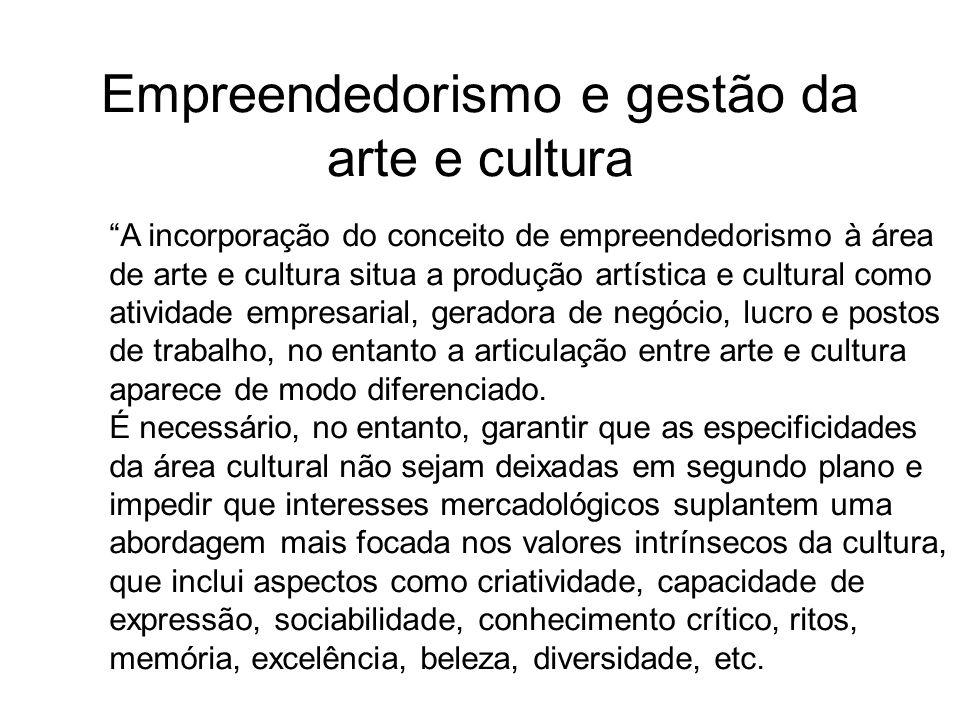 Empreendedorismo e gestão da arte e cultura A incorporação do conceito de empreendedorismo à área de arte e cultura situa a produção artística e cultu