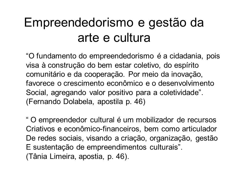 Empreendedorismo e gestão da arte e cultura O fundamento do empreendedorismo é a cidadania, pois visa à construção do bem estar coletivo, do espírito