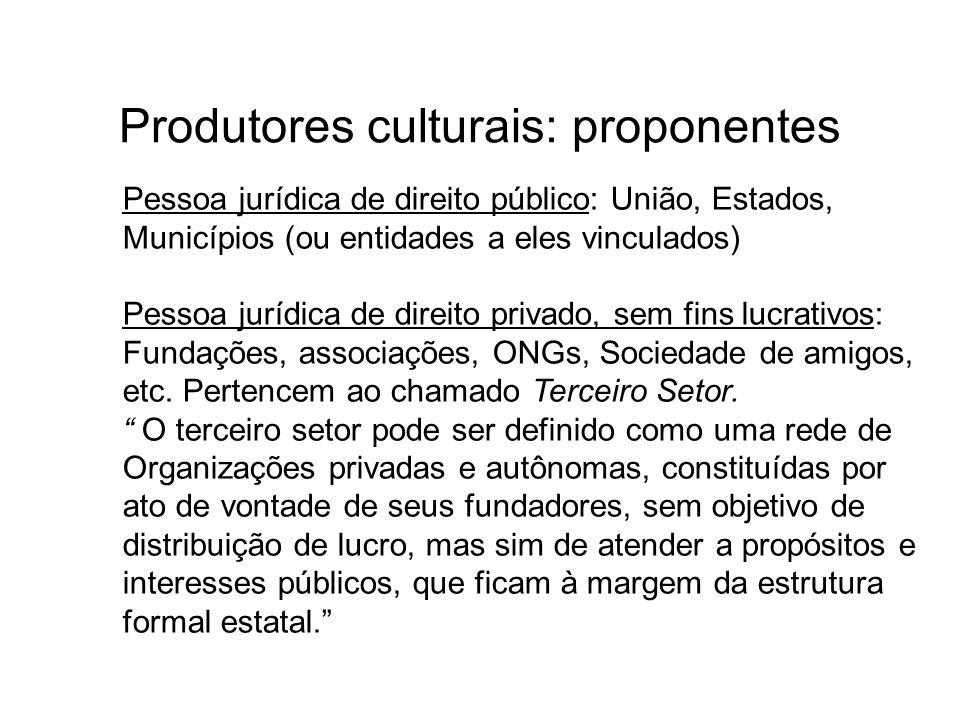 Produtores culturais: proponentes Pessoa jurídica de direito público: União, Estados, Municípios (ou entidades a eles vinculados) Pessoa jurídica de d