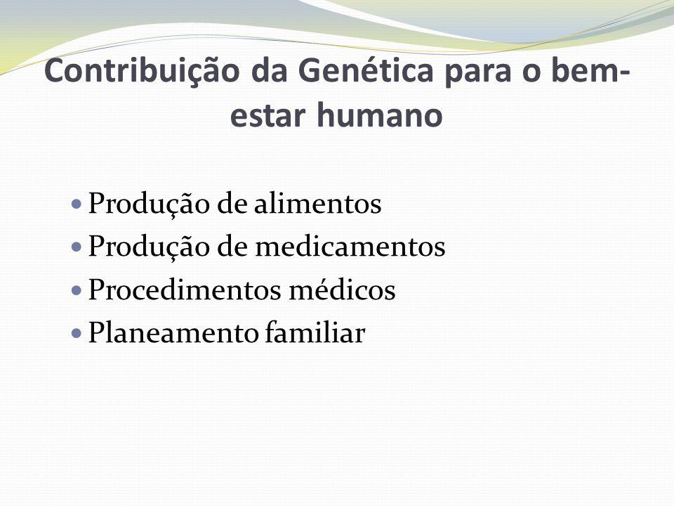 Contribuição da Genética para o bem- estar humano Produção de alimentos Produção de medicamentos Procedimentos médicos Planeamento familiar