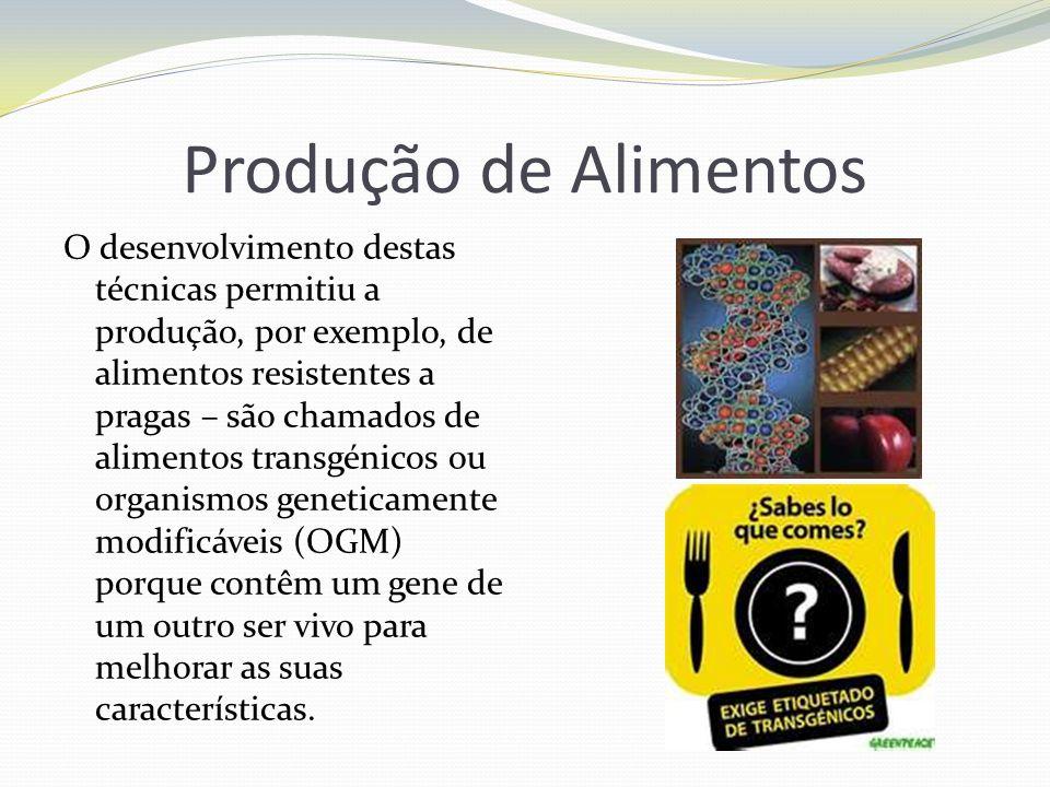 Produção de Alimentos O desenvolvimento destas técnicas permitiu a produção, por exemplo, de alimentos resistentes a pragas – são chamados de alimento