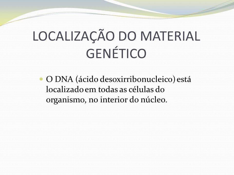 LOCALIZAÇÃO DO MATERIAL GENÉTICO O DNA (ácido desoxirribonucleico) está localizado em todas as células do organismo, no interior do núcleo.