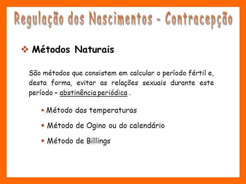 Métodos Naturais São métodos que consistem em calcular o período fértil e, desta forma, evitar as relações sexuais durante este período – abstinência