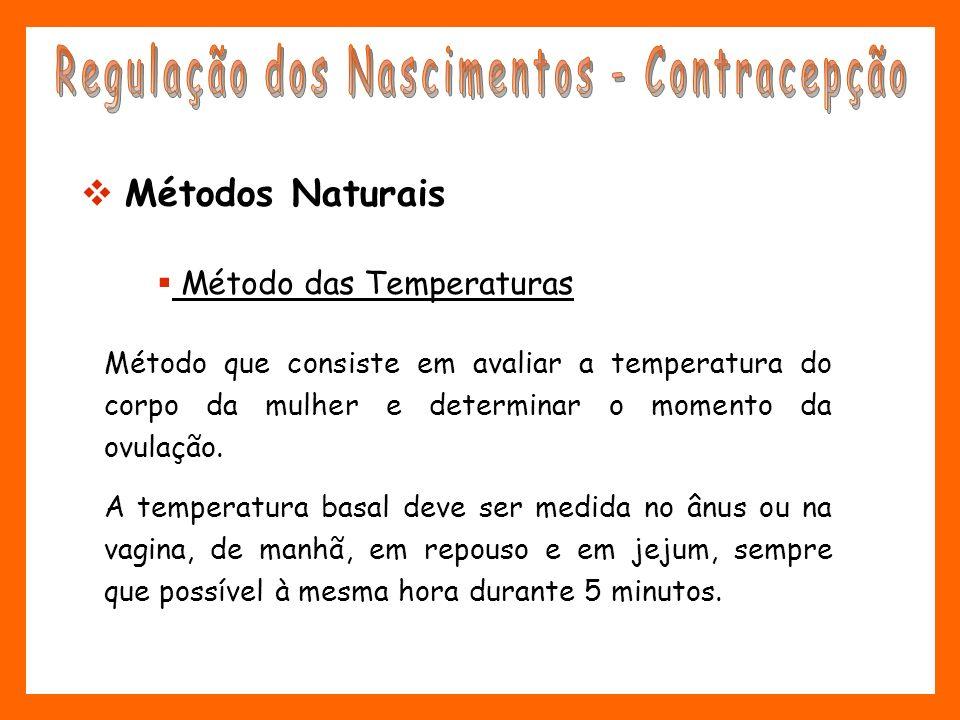 Método que consiste em avaliar a temperatura do corpo da mulher e determinar o momento da ovulação. A temperatura basal deve ser medida no ânus ou na