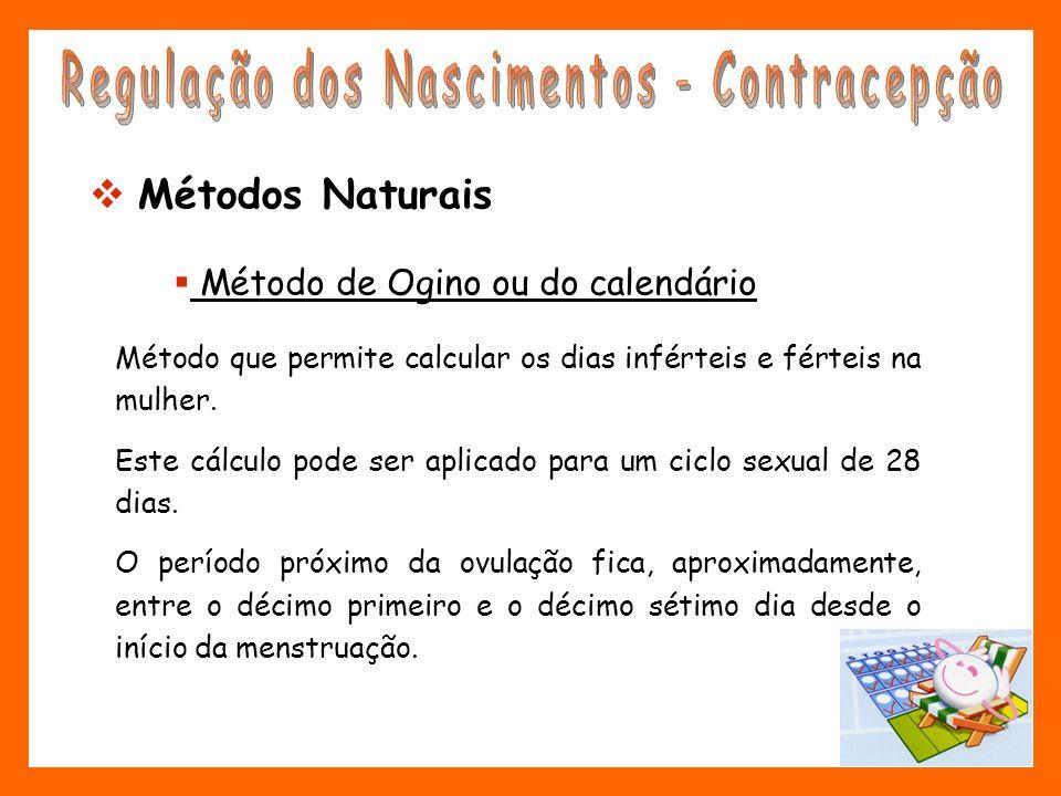 Método de Ogino ou do calendário Método que permite calcular os dias inférteis e férteis na mulher. Este cálculo pode ser aplicado para um ciclo sexua