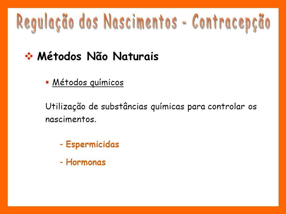 Métodos químicos Utilização de substâncias químicas para controlar os nascimentos. - Espermicidas - Hormonas Métodos Não Naturais