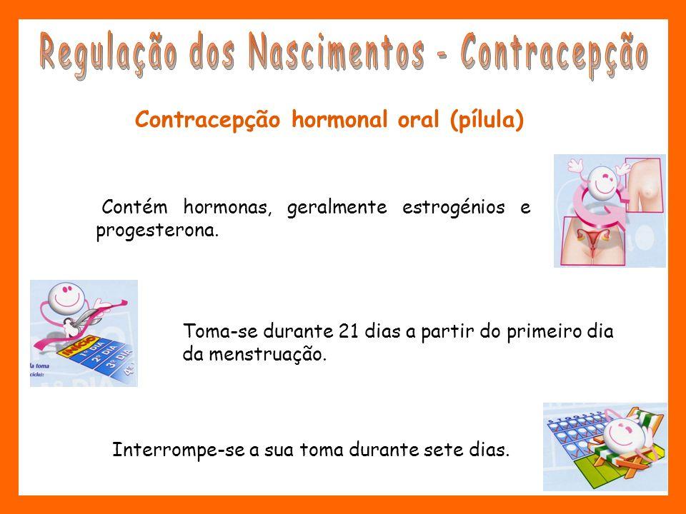 Contracepção hormonal oral (pílula) Contém hormonas, geralmente estrogénios e progesterona. Toma-se durante 21 dias a partir do primeiro dia da menstr