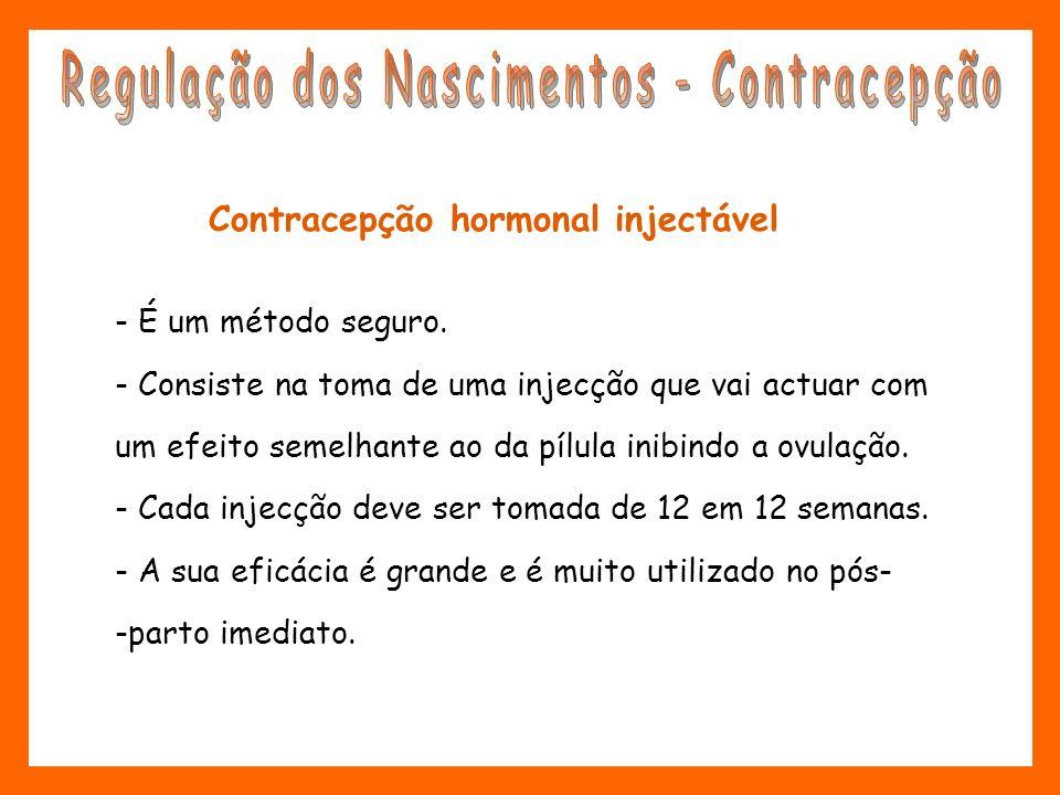 Contracepção hormonal injectável - É um método seguro. - Consiste na toma de uma injecção que vai actuar com um efeito semelhante ao da pílula inibind
