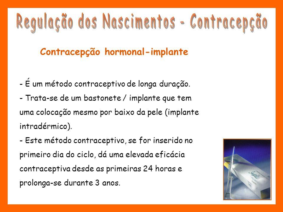 Contracepção hormonal-implante - É um método contraceptivo de longa duração. - Trata-se de um bastonete / implante que tem uma colocação mesmo por bai