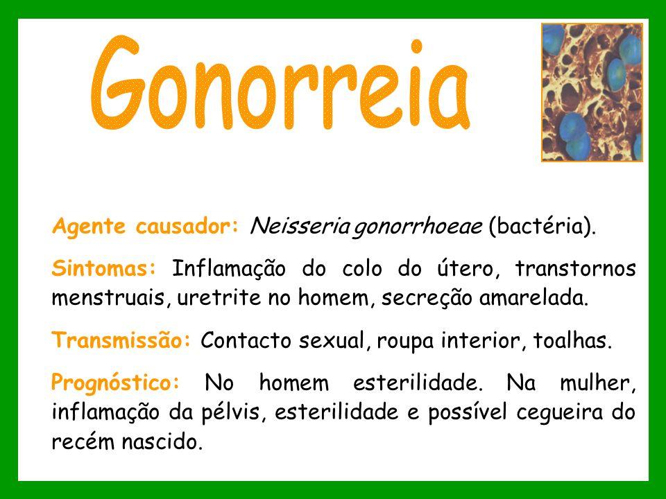 Agente causador: Neisseria gonorrhoeae (bactéria). Sintomas: Inflamação do colo do útero, transtornos menstruais, uretrite no homem, secreção amarelad