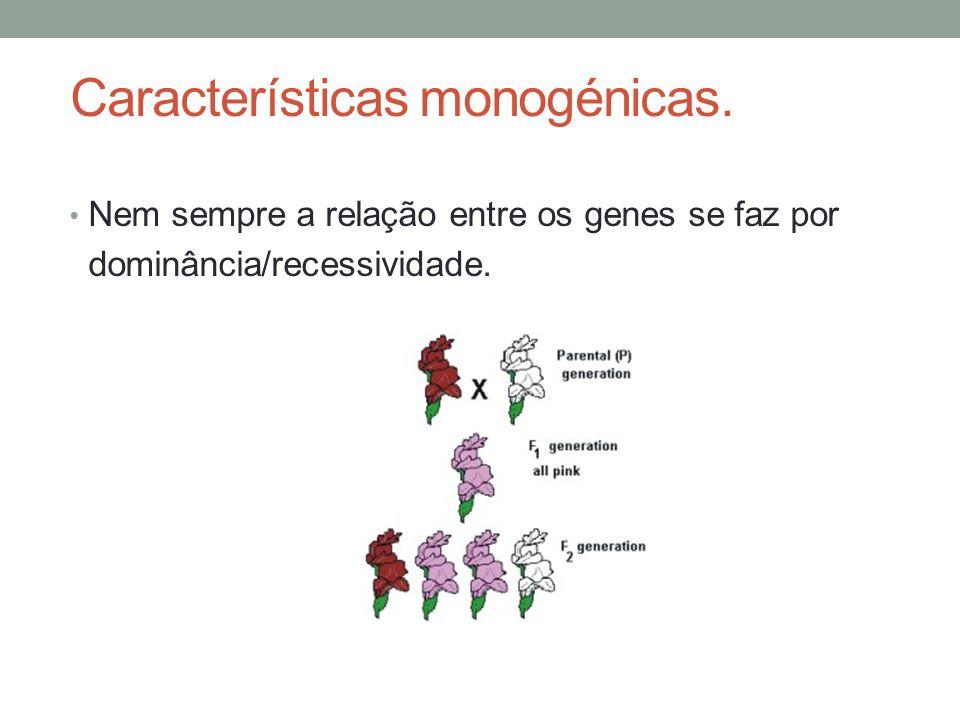 Características monogénicas. Nem sempre a relação entre os genes se faz por dominância/recessividade. Prof. Teresa Condeixa Adaptado de Óscar Sequeira