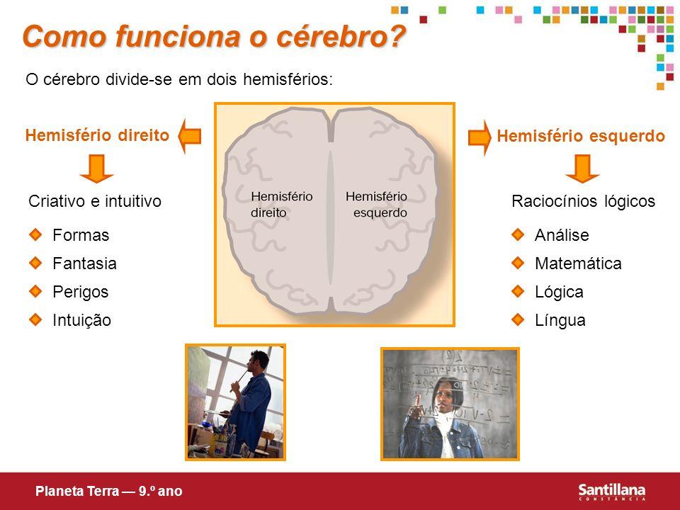 Como funciona o cérebro? O cérebro divide-se em dois hemisférios: Hemisfério direito Hemisfério esquerdo Criativo e intuitivoRaciocínios lógicos Forma