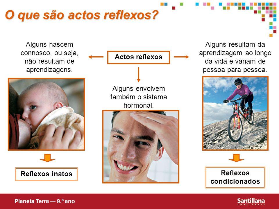 O que são actos reflexos? Actos reflexos Alguns nascem connosco, ou seja, não resultam de aprendizagens. Alguns resultam da aprendizagem ao longo da v