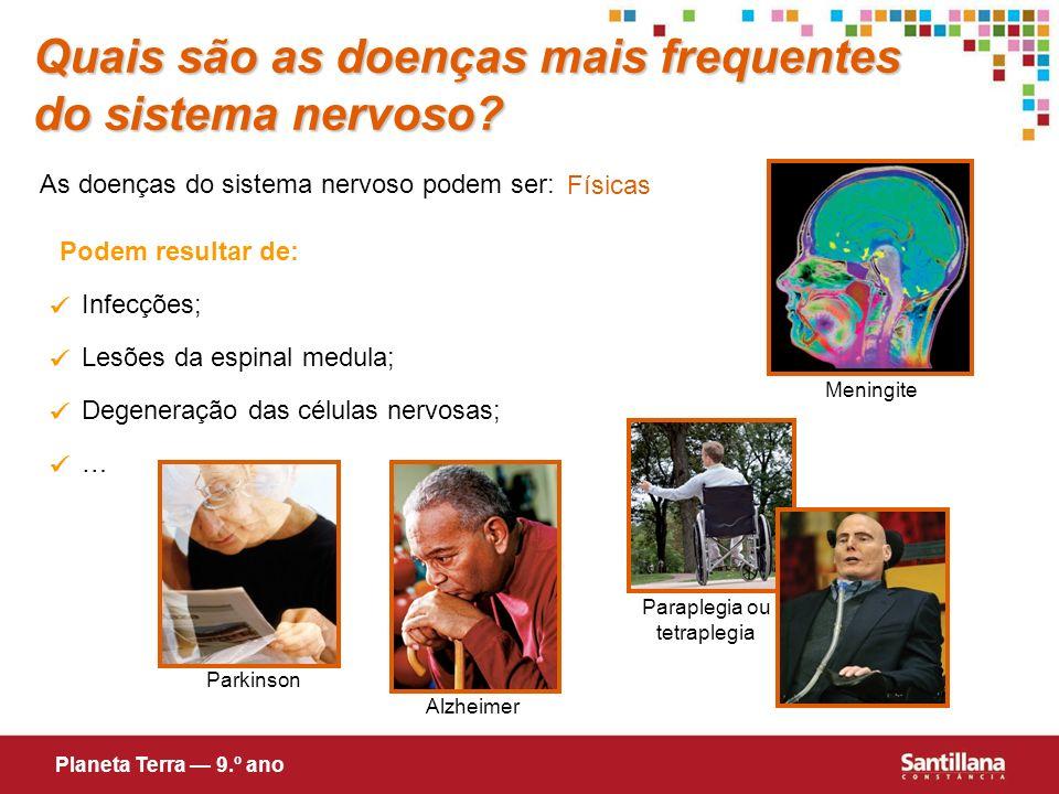Quais são as doenças mais frequentes do sistema nervoso? As doenças do sistema nervoso podem ser: Físicas Podem resultar de: Infecções; Lesões da espi