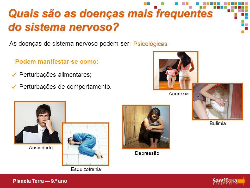 As doenças do sistema nervoso podem ser: Psicológicas Podem manifestar-se como: Perturbações alimentares; Perturbações de comportamento. Anorexia volt