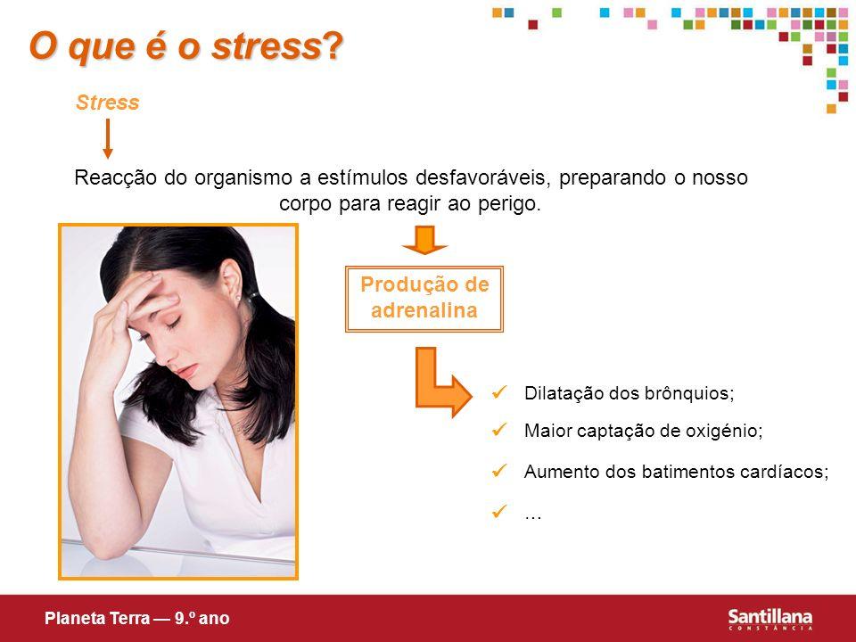 O que é o stress? Stress Reacção do organismo a estímulos desfavoráveis, preparando o nosso corpo para reagir ao perigo. Produção de adrenalina Dilata