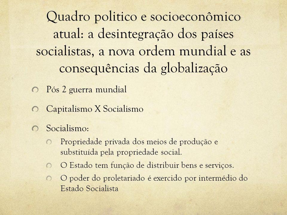 Quadro politico e socioeconômico atual: a desintegração dos países socialistas, a nova ordem mundial e as consequências da globalização Pós 2 guerra m