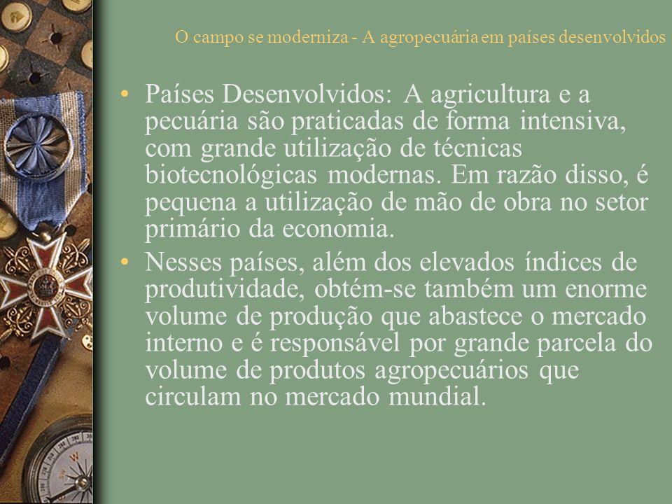 O campo se moderniza - A agropecuária em países desenvolvidos Países Desenvolvidos: A agricultura e a pecuária são praticadas de forma intensiva, com grande utilização de técnicas biotecnológicas modernas.