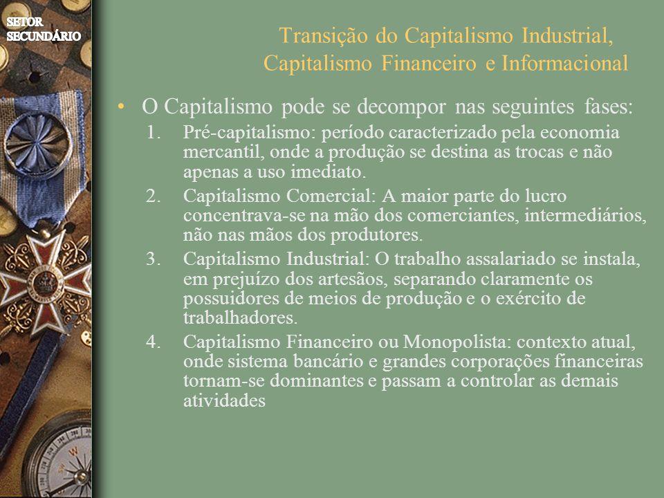 Transição do Capitalismo Industrial, Capitalismo Financeiro e Informacional O Capitalismo pode se decompor nas seguintes fases: 1.Pré-capitalismo: período caracterizado pela economia mercantil, onde a produção se destina as trocas e não apenas a uso imediato.