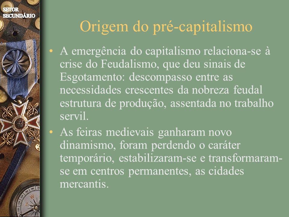 Origem do pré-capitalismo A emergência do capitalismo relaciona-se à crise do Feudalismo, que deu sinais de Esgotamento: descompasso entre as necessidades crescentes da nobreza feudal estrutura de produção, assentada no trabalho servil.