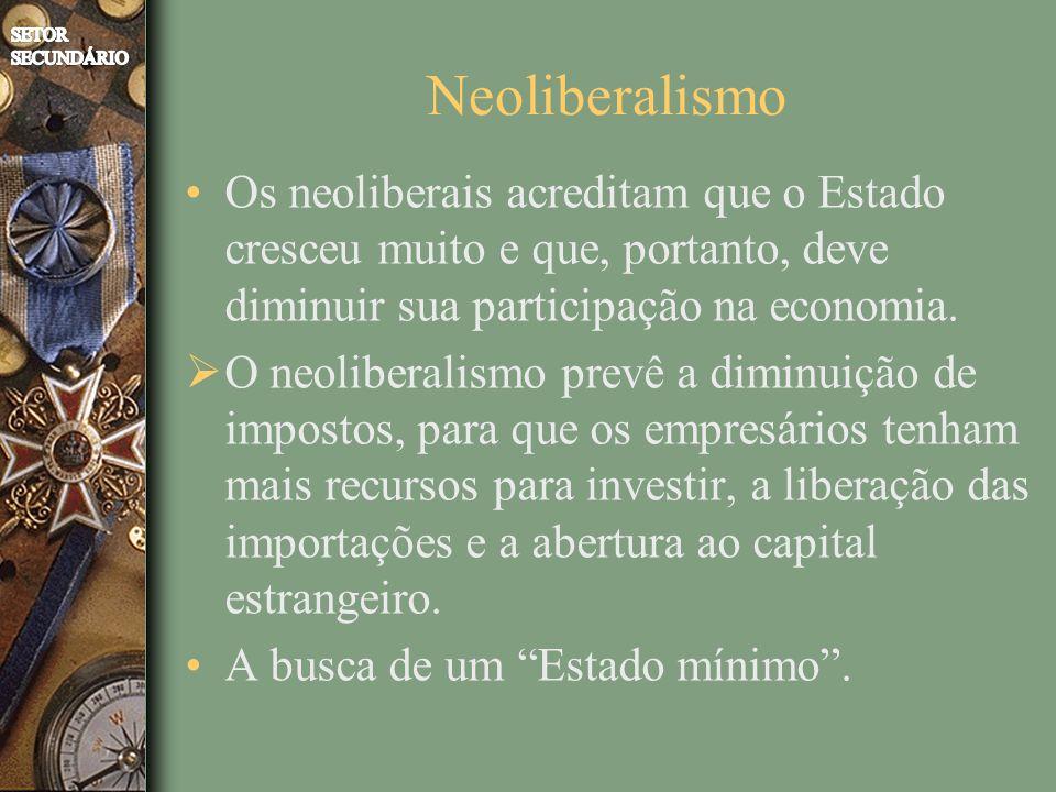 Neoliberalismo Os neoliberais acreditam que o Estado cresceu muito e que, portanto, deve diminuir sua participação na economia. O neoliberalismo prevê