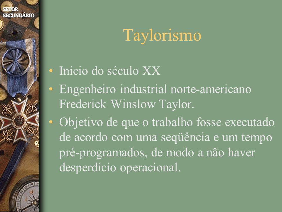 Taylorismo Início do século XX Engenheiro industrial norte-americano Frederick Winslow Taylor. Objetivo de que o trabalho fosse executado de acordo co