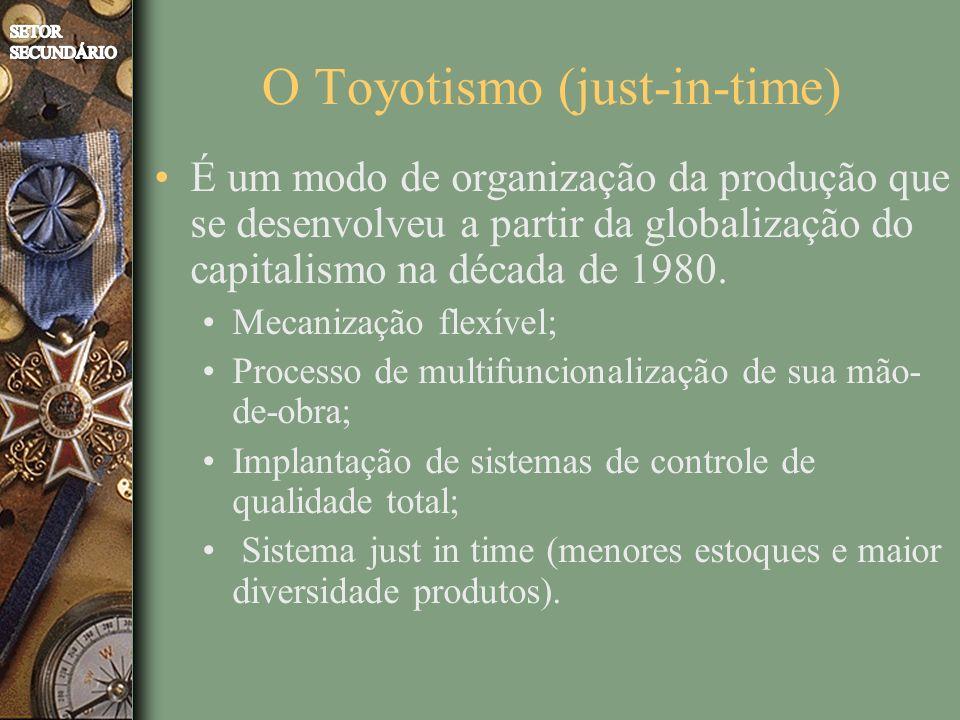O Toyotismo (just-in-time) É um modo de organização da produção que se desenvolveu a partir da globalização do capitalismo na década de 1980.