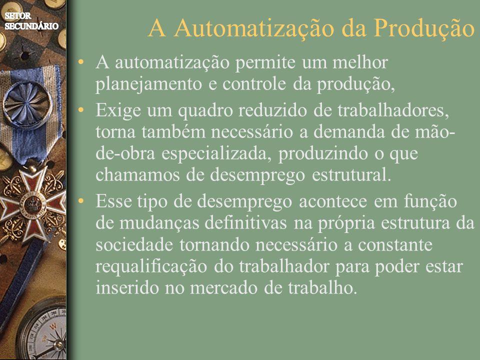 A Automatização da Produção A automatização permite um melhor planejamento e controle da produção, Exige um quadro reduzido de trabalhadores, torna também necessário a demanda de mão- de-obra especializada, produzindo o que chamamos de desemprego estrutural.
