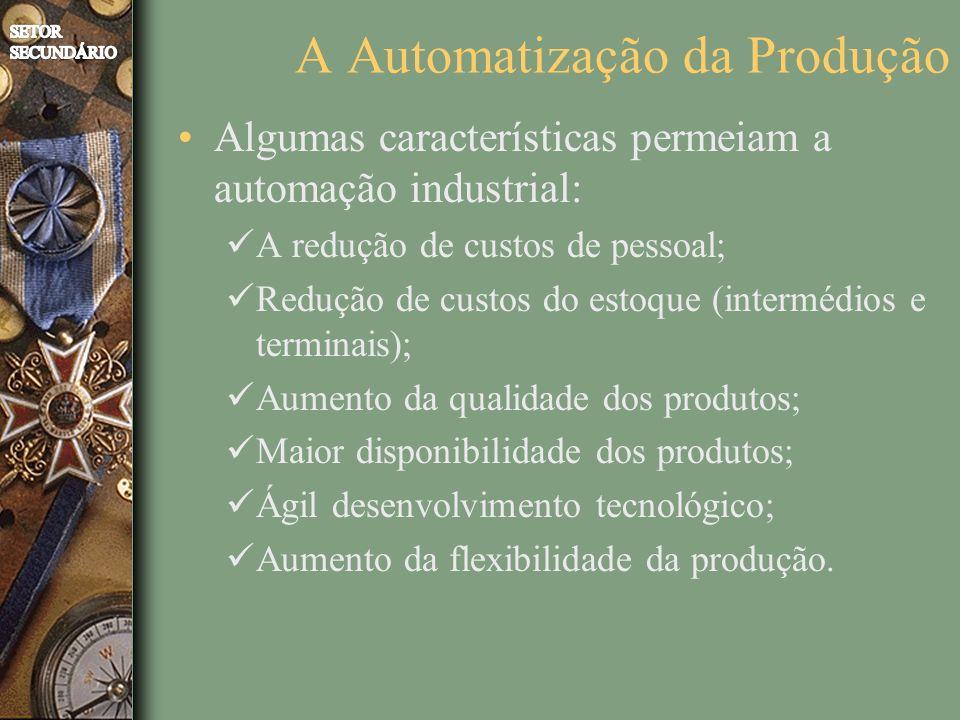 Algumas características permeiam a automação industrial: A redução de custos de pessoal; Redução de custos do estoque (intermédios e terminais); Aumento da qualidade dos produtos; Maior disponibilidade dos produtos; Ágil desenvolvimento tecnológico; Aumento da flexibilidade da produção.