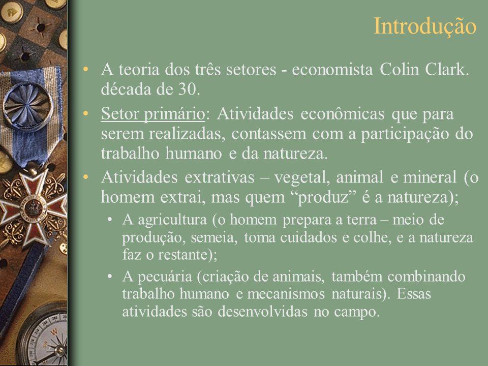 Introdução A teoria dos três setores - economista Colin Clark. década de 30. Setor primário: Atividades econômicas que para serem realizadas, contasse